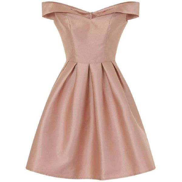 **Chi Chi London Pink Metallic Bardot Dress ($110) ❤ liked on Polyvore featuring dresses, pink and chi chi dresses