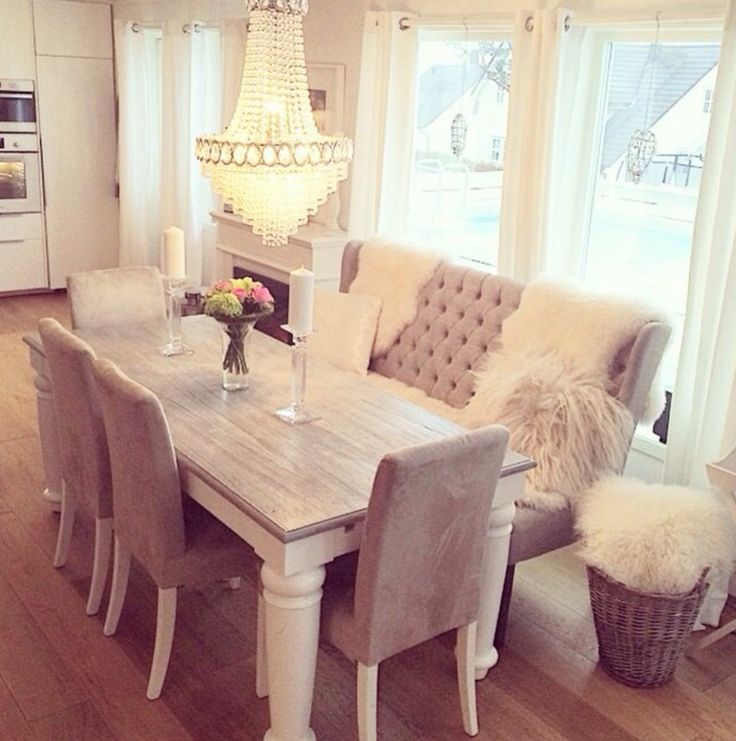 Love The Grey Chairs With Bench Keeping Same Color Theme But Unique Pieces Cozy Dining RoomsBeige