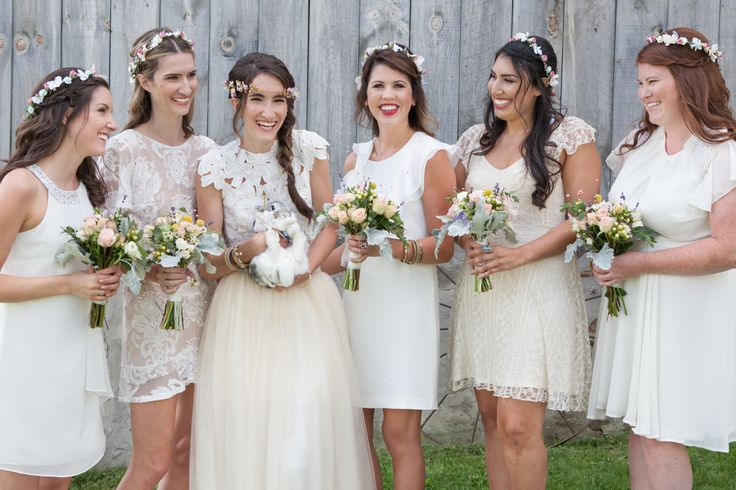 Our First Ever Wedding! Bridesmaids Flower Crowns! Simple Roses & White Flowers. Barn wedding at South Pond Farms! Bride with pet rabbit. Photography by Rachelle Simoneau (http://www.rachellesimoneau.com/).  Crowns by Us: https://www.etsy.com/ca/shop/TwillnThistle