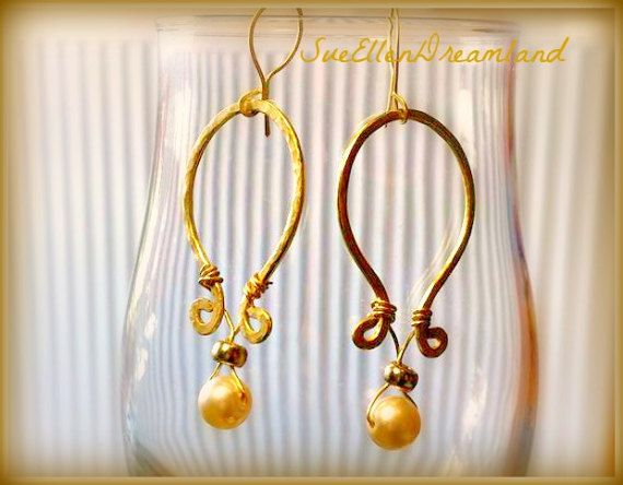 Summer 2017 Boho chic dangle hanging handmade earrings forged