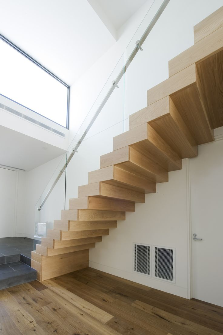 American Oak Stained Timber Boxed Stair Stainless