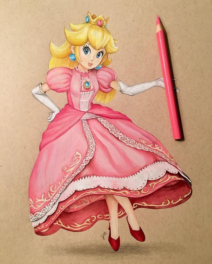 how to draw princess peach