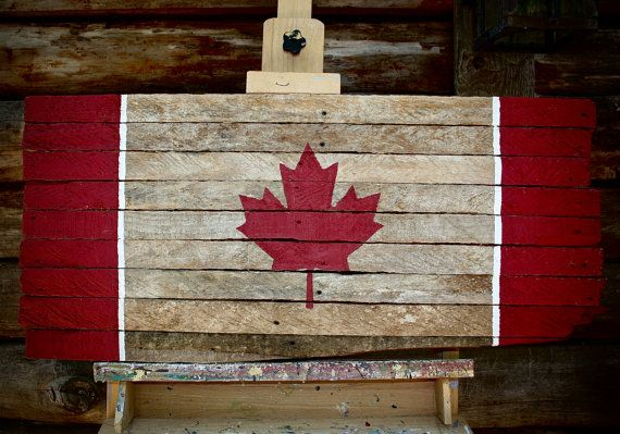 Old Wooden canadian flag