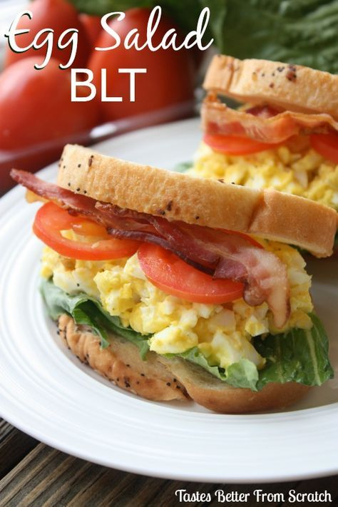 Egg Salad BLT on MyRecipeMagic.com Perfect for your leftover Easter hardboiled eggs! #eggsalad #blt
