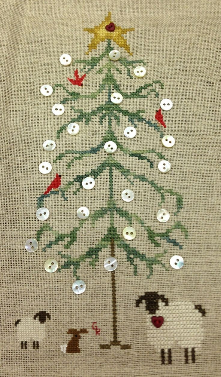 christmas tree with button oranments crosstitch - Google Search