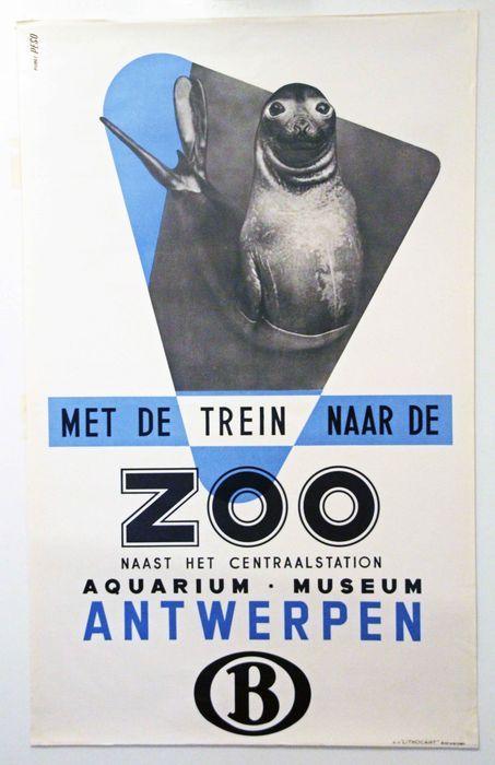 Studio Publi Peso - Met de trein naar de ZOO Antwerpen - ca. 1950  Reclame-affiche in typische jaren 50-stijl met jonge zee-olifant.Originele offsetlithografie te dateren omstreeks 1950.Afmetingen: 100 cm hoog x 62 cm breedConditie A: lichte rolsporen rand bovenaan verder gaaf.Druk: N.V. 'Lithocart' AntwerpenVerzending: opgerold in stevige koker met track & trace.  EUR 35.00  Meer informatie