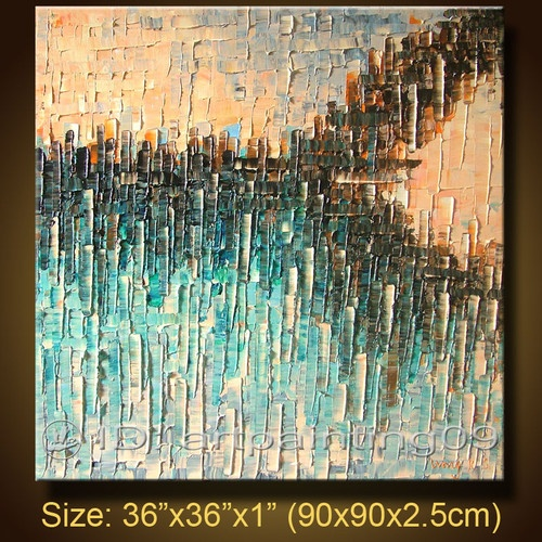 Modern Contemporary Abstract Landscape Palette Knife Art Deco Oil