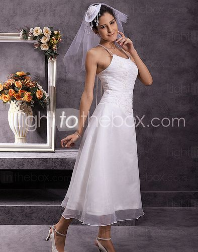 spaghetti-straps-tea-length-princess-wedding-dresses-with-beading-ruched-2#wedding #dress