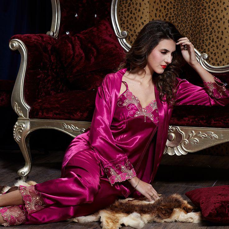 lace robe en satin de soie pyjama nightgown pantalon ensemble chemise de nuit kimono pyjama. Black Bedroom Furniture Sets. Home Design Ideas