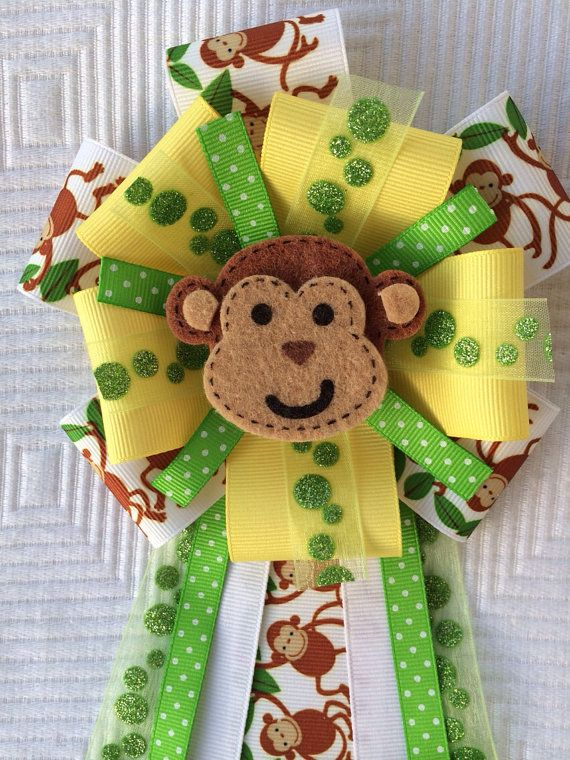 Baby Shower Monkey Corsage Jungle Safari Green Yellow on Etsy, $14.00