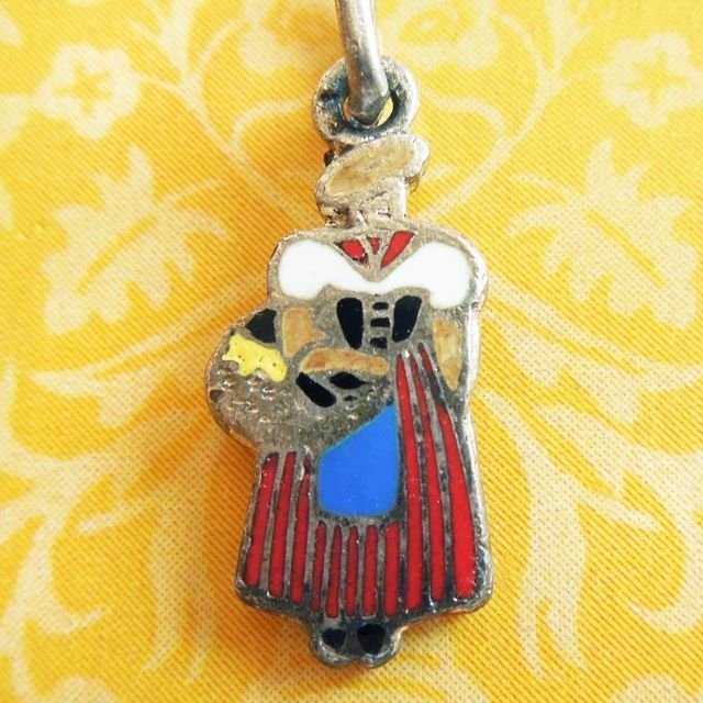 Vintage Enamel FRENCH GERMAN BAVARIAN LADY w/ MARKET BASKET Argent Silver Charm