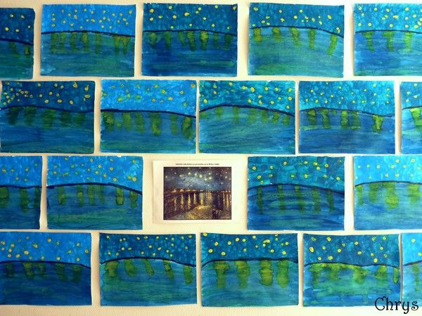 """super travail sur le tableau de van gogh """"la nuit étoilée"""""""