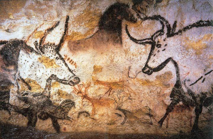 Aurochs, horses, and deer, Lascaux, 15,000 BCE                                                                                                                                                                                 More