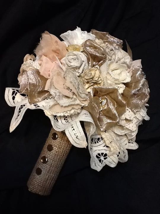 Vintage wedding bouquets from lace, fabric, doilies, antique pins, etc.
