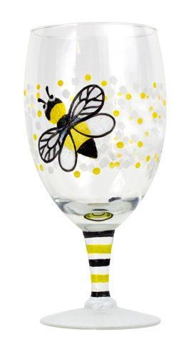 Bumble Bee Wine Glass- DecoArt Gloss Enamels Crystal Glitter