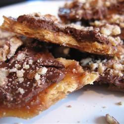 Chocolate Brittle Surprise With Soda Crackers, Butter, Brown Sugar, Semi-sweet Chocolate Morsels, Chopped Pecans