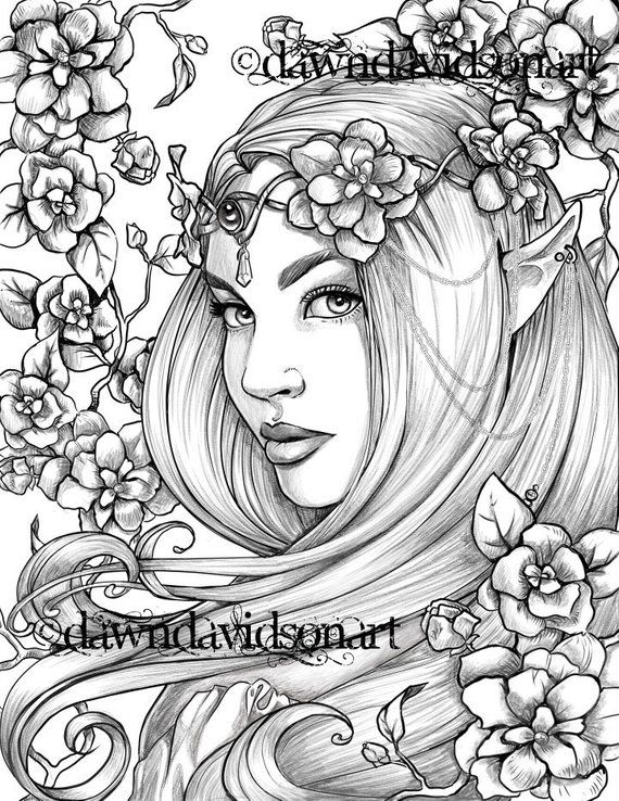 adult art coloring fantasy free page