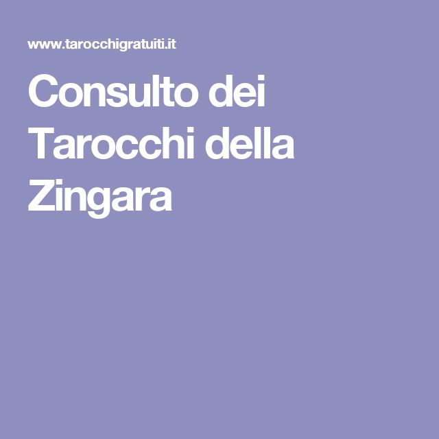 Consulto dei Tarocchi della Zingara