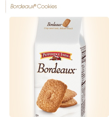 Pepperidge Farm - Bordeaux Cookies  Thin and crispy and caramelized deliciousness. Best cookies ever but I still miss brown edged wafers too :(