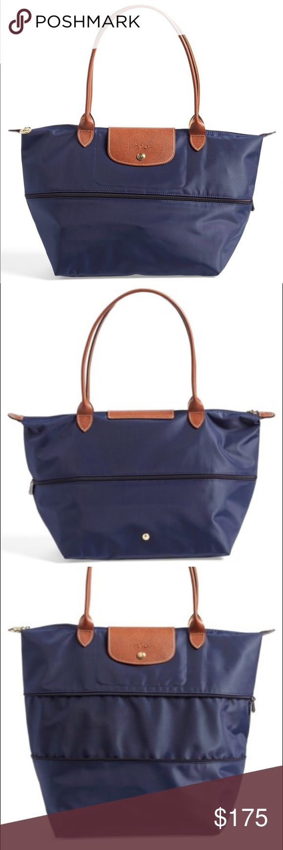 Longchamp 'Le Pliage' Expandable Tote (Navy) Brand new longchamp water-resistant nylon tote with leather trim. Provides extra space with zipper expansion. Longchamp Bags Totes
