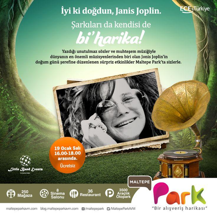 Şarkıları da kendisi de bi' harika!  Janis Joplin'in doğum günü şerefine düzenlenen sürpriz etkinlikler #MaltepePark'ta sizlerle.