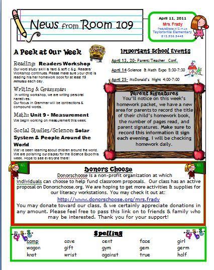 weekly classroom newsletter templates - Vatozatozdevelopment