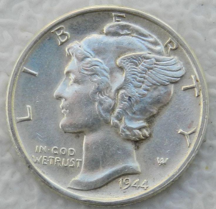 1944 Mercury Dime 90 Silver Bu Us Coin 9 25 2 25