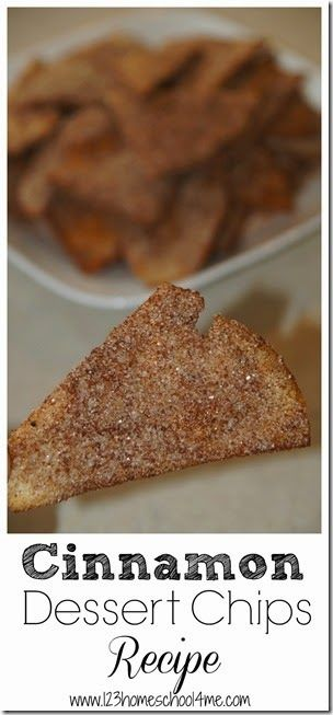 Cinnamon Dessert Chips Recipe! These are made with tortillas and looks super easy to make. Totally going to try this recipe! #recipe