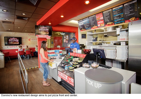 Restaurant redesigns focus on visual experience.: Domino'S Pizza, Logos, Pizza Unveiled, Domination Pizza, Pizza Chains, Domino'S Inspiration, Stores Design, Domino'S Domination, Open Kitchens