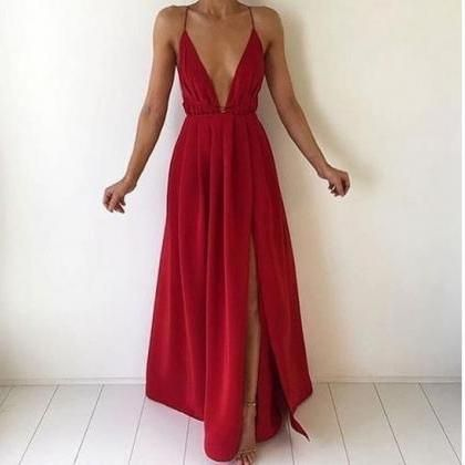 Simple red A-Line V-neck long prom dress,evening dress,Silk Chiffon Prom Dress,Slit Side Evening Dresses