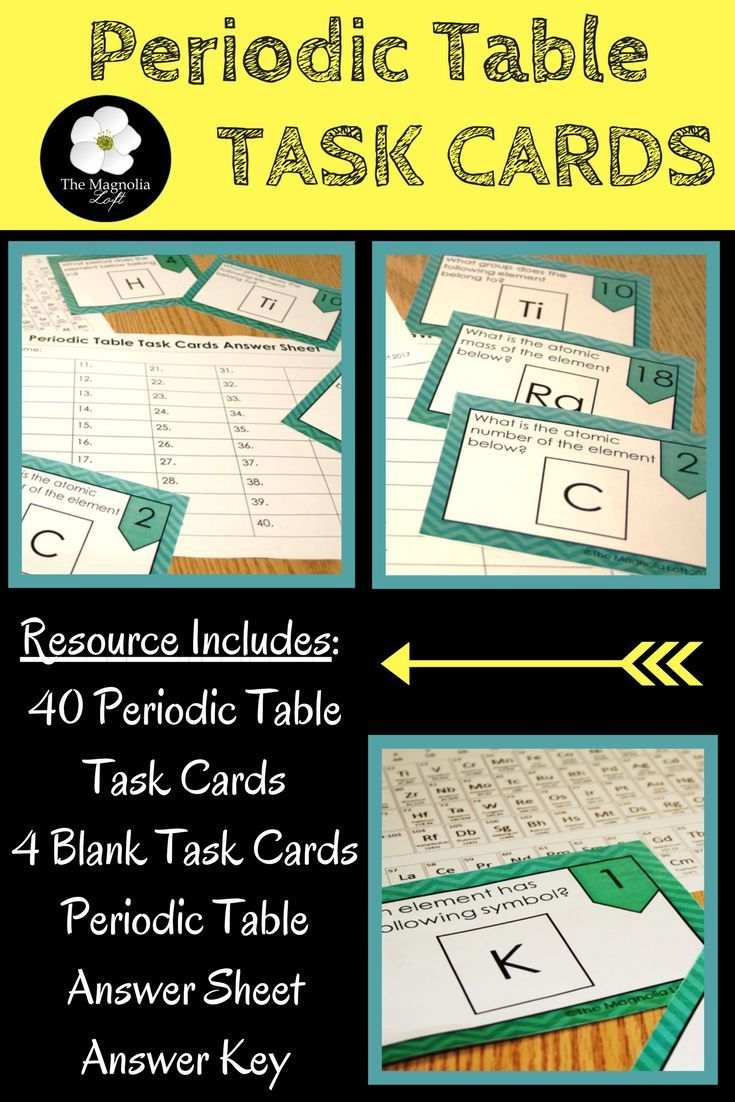 These 40 Periodic Table Task Cards (Color Version and B/W Version) are a great resource for students to begin working with the periodic table. Students will work on task cards about periodic symbols, atomic mass, atomic number, periods and groups. Check i