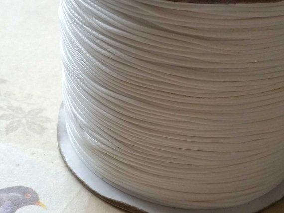 0.8 mm White Color Korean Waxed Cotton Cord (.thg)