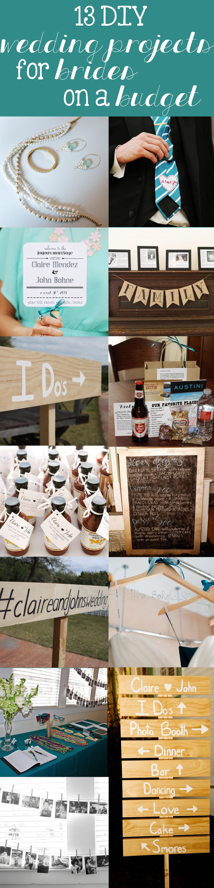 DIY wedding projects for brides on a budget! Decorations, favors, jewelry, and more! ThisHouseIsOurHome.blogspot.com