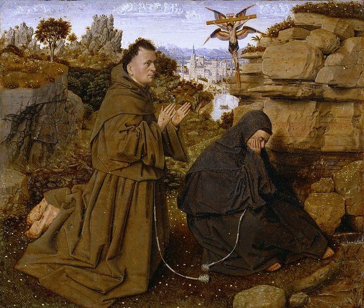 Святой Франциск, принимающий стигматы (атр.). Ян ван Эйк
