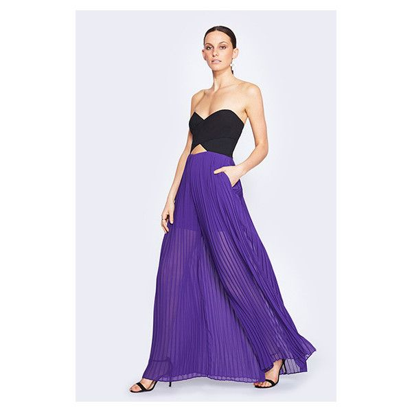 Fame&Partners Pleated Strapless Purple Tania Jumpsuit Dress (1.215 VEF) ❤ liked on Polyvore featuring dresses, pleatedstrapless, purple, pleated cocktail dress, strapless dress, purple cocktail dress, strapless cocktail dress and going out dresses