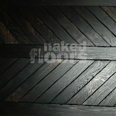Oak Flooring - londinium noir medieval chevron parquet - Naked Floors
