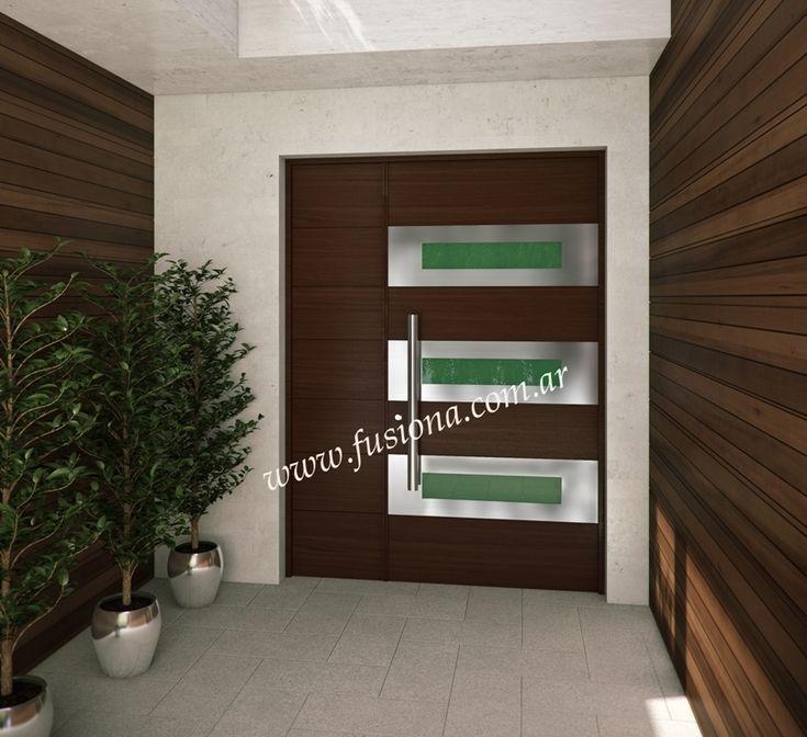 M118 puerta de madera con vidrio de color y acero for Puertas de madera con cristal