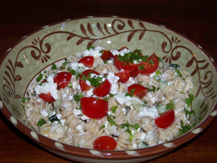 Have you heard of quark cheese? Pasta salad with quark cheese.