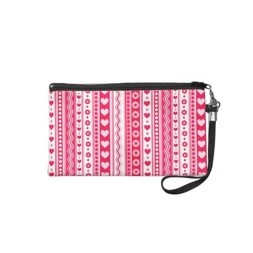 Abstract Red pattern + dots flowers hearts Wristlet Clutches