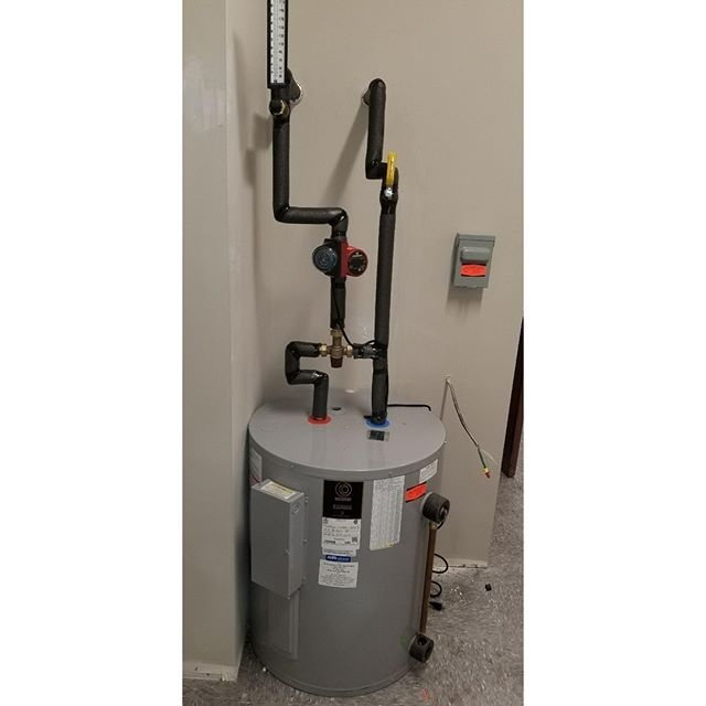Commercial water heater installation at Rochester Sleep Center. This water heater has a temperature controlled mixing valve and thermometer to set outlet temperature. #Plumber #CommercialPlumbing #WaterHeaters #TumiaPlumbing #RochesterNY #SleepCenters