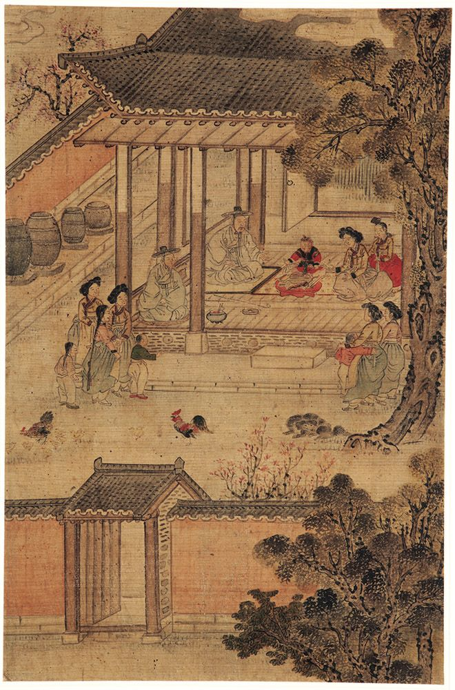 Highlights of an illustrious lifetime: First birthday celebration, by attrib. to Kim Hongdo (Korean, 1745–approx. 1806). Korea, Joseon dynasty (1392–1910). Ink and colours on silk.