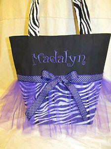 Custom Handmade Zebra Tutu Purple Tote Bag Dance Bag Choice of Name Color | eBay