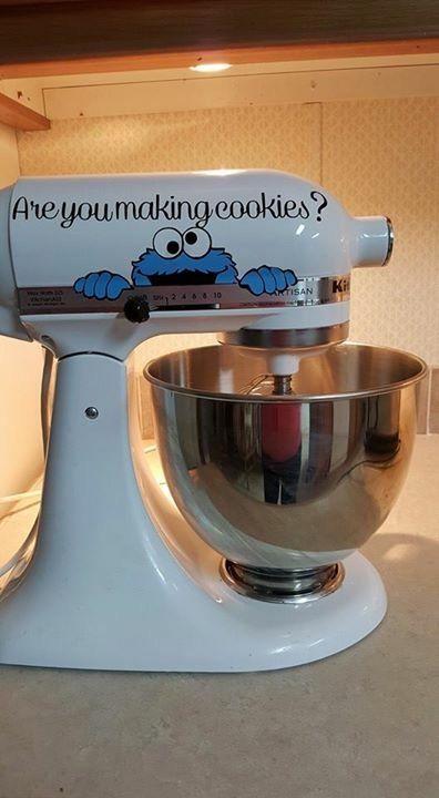 Cookie Monster vinyl electric mixer decal