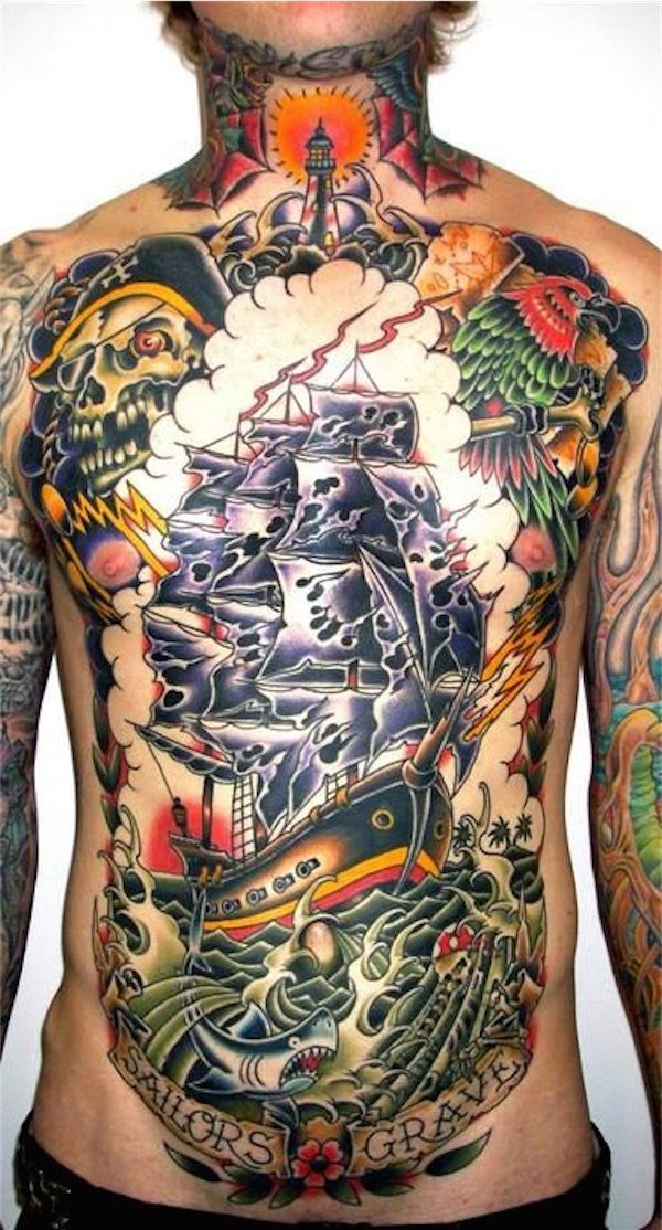 Pirate themed chest tattoos - For those who love pirate themed tattoos, which are awesome in its own way, this whole piece is a great inspiration. #TattooModels #tattoo