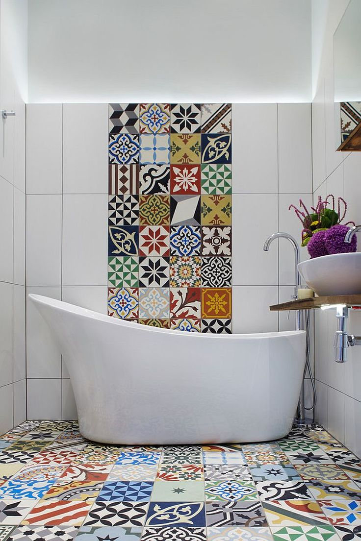 Lovely Use Of Mismatched Black And White Floor Tiles In The Bathroom Decoist