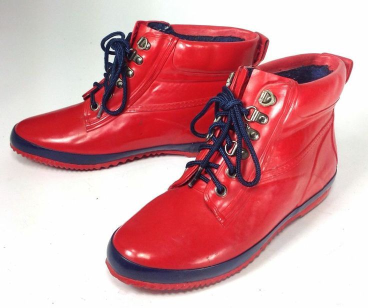 Women's Khombu Two Tone Red and Navy Blue Rain Snow Boots