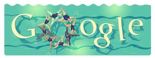 """Londra 2012 Nuoto Sincronizzato: per 10° doodle olimpico Google """"balla"""" con le sincronette"""