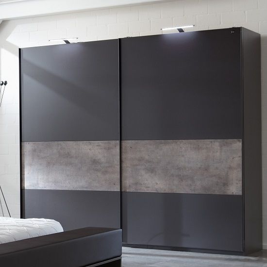 Clovis Sliding Wardrobe Large In Lave Carcase And Fronts With Application of Concrete Colour makes an extreme looks along with other furniture of same range Finish: Lave Front And Carcase, Appl.Con...
