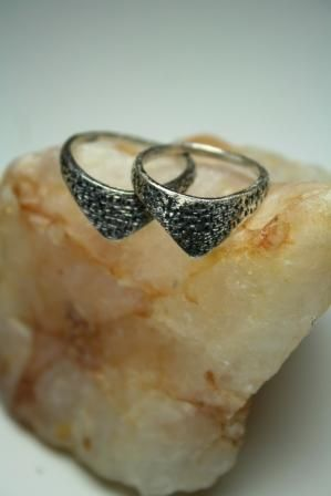 Twin rings, oxidized silver  Handmade by BurCak