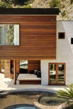 A: Light grey, Traditional Dark Shingle Roof, Minimal Wood, Wood door on Hardy
